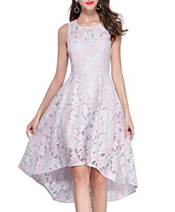 41122a57945 VEIISAR Women s Sleeveless Fit Floral Lace Cocktail Party Dress 02-3  (Large