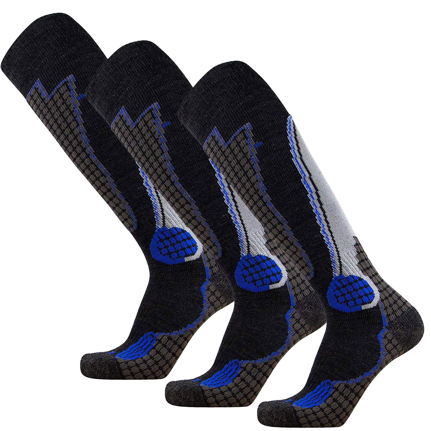 Pure Athlete High Performance Wool Ski Socks – Outdoor Wool Skiing Socks, Snowboard Socks (Black/Grey/Blue - 3 Pack, Small)