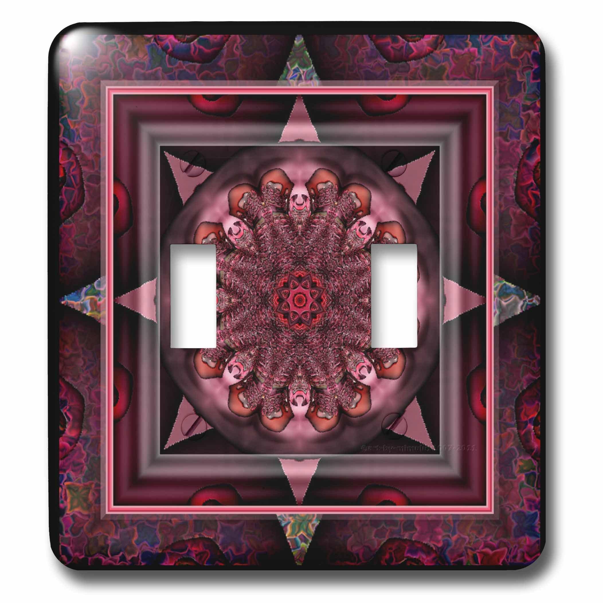3dRose lsp_24842_2 Mandala 10 Chakra Purple Pink Black Flower power Hippie India Orient Oriental Meditate Peace Harmony Double Toggle Switch