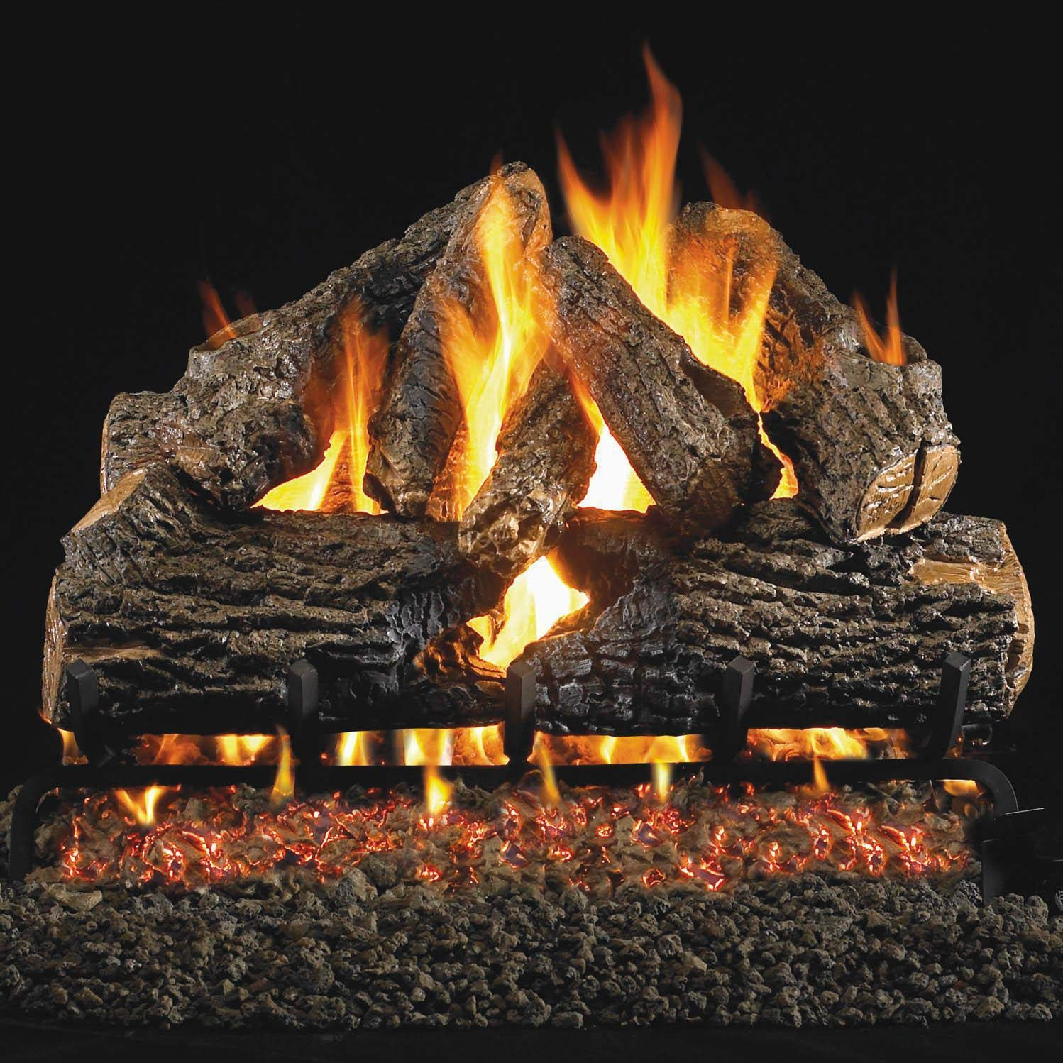 Peterson Real Fyre 24-inch Charred Oak Gas Log Set With Vented Natural Gas G45 Burner - Manual Safety Pilot by Peterson Real Fyre
