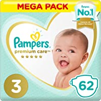 Pampers Premium care Diapers, Size 3, Midi, 5-9 kg, Value Pack, 62 Count