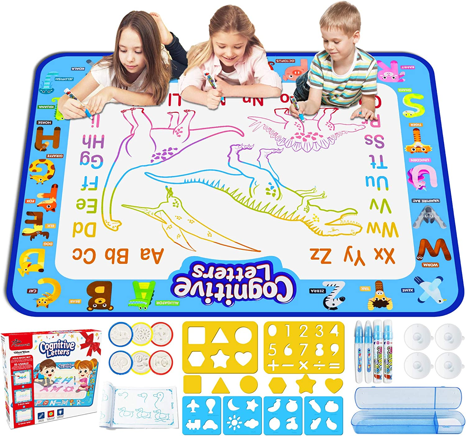 WisToyz Doodle Mat Spaceship Cognitive Letters Aqua Mat Waterproof Play Mat for Kids 40 X 32 Inches Doodle Drawing Mat with Squeeze Toys Educational Toys for Kids Toddlers Boys Girls Age 3-Year and Up