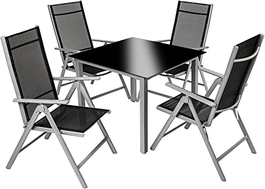 TecTake 800356 - Conjunto Muebles de Jardin 4+1, Sillas Reclinables & Mesa de Cristal, Aluminio (Gris Plata | no. 402169): Amazon.es: Jardín