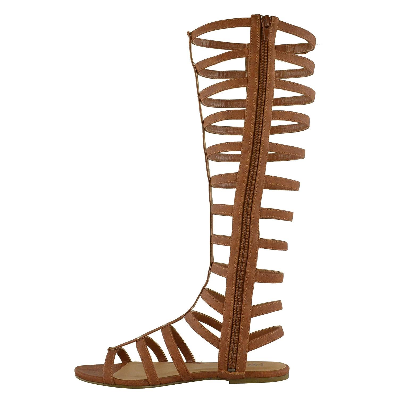 Mujer Corte Sandalias Estilo Gladiador Plano Rodilla Botas Tiras Talla - Marrón Piel Sintética, 36