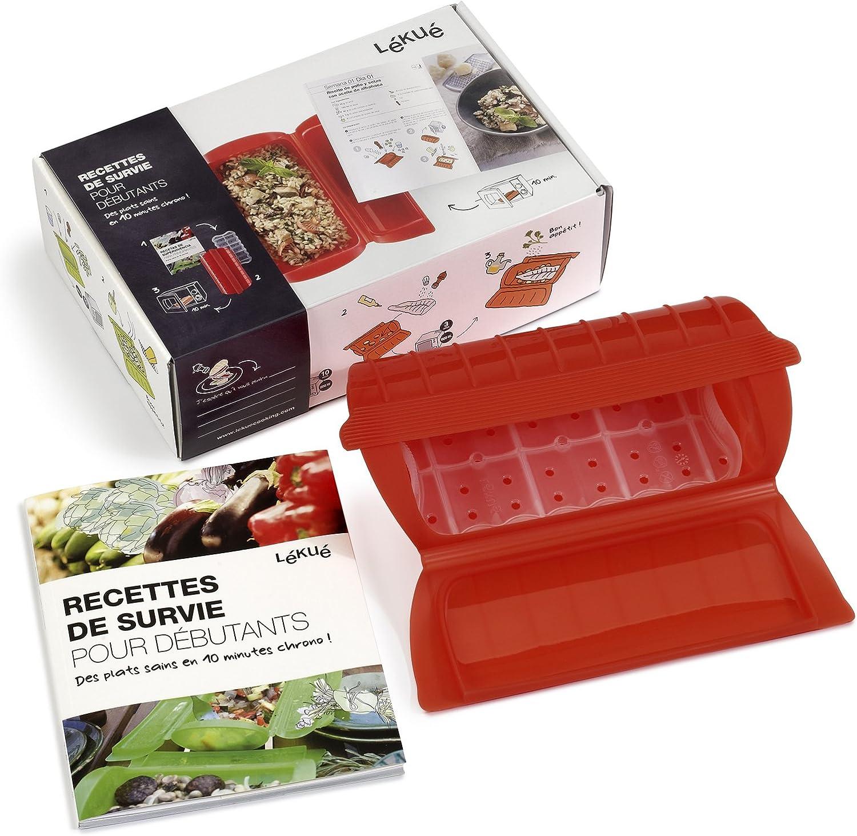 Lékué 3404900R10M550 - Estuche de silicona platino para papillote (incluye libro de recetas en francés para principiantes): Amazon.es: Hogar