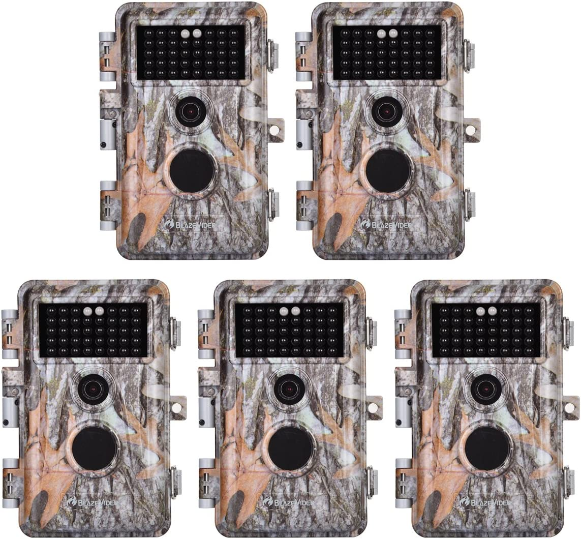 5-Pack Game Deer Trail Cameras 20MP Photo 1920x1080P Full HD H.264 MP4 Video Hunting Wildlife Cams Time Lapse Night Vision No Glow Motion Activated Waterproof Password Protected 0.5S Trigger 2.4 LCD