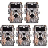 """BlazeVideo 5-Pack 16MP 1080P Video Game Trail Cameras Wildlife Deer Hunting Cams with 65ft Night Vision, No Glow & No Flash Infrared LEDs, PIR Motion Activated, IP66 Waterproof, 0.6S Trigger, 2.4"""" LCD"""