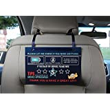 Uber Lyft Rating Tips Appreciated Rideshare Driver Signs – Large 9x6 Inch Premium Thick Laminate 20 Mil Durable Backseat Headrest Display Card (Pack of 2) – All You Need for Your Business