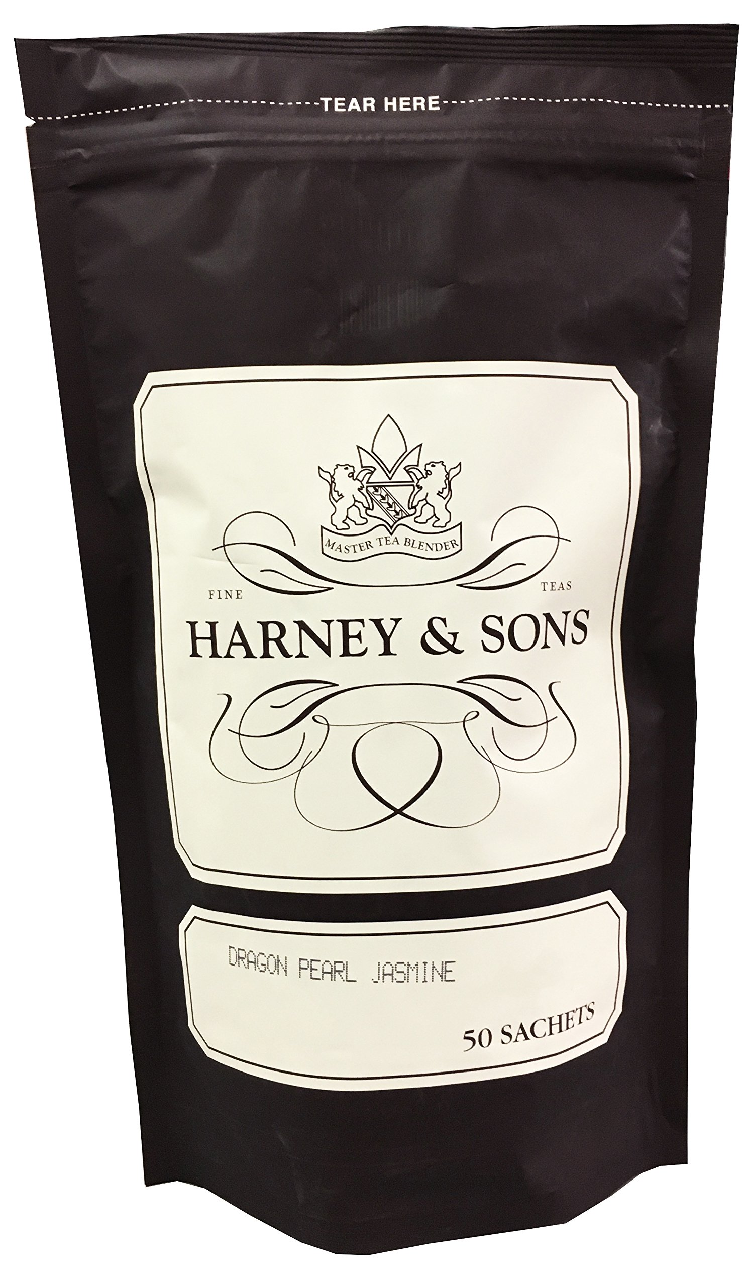 Harney & Sons Dragon Pearl Jasmine Tea - Floral and Sweet Aroma, High Quality, Great Present Idea - Bag of 50 Sachets