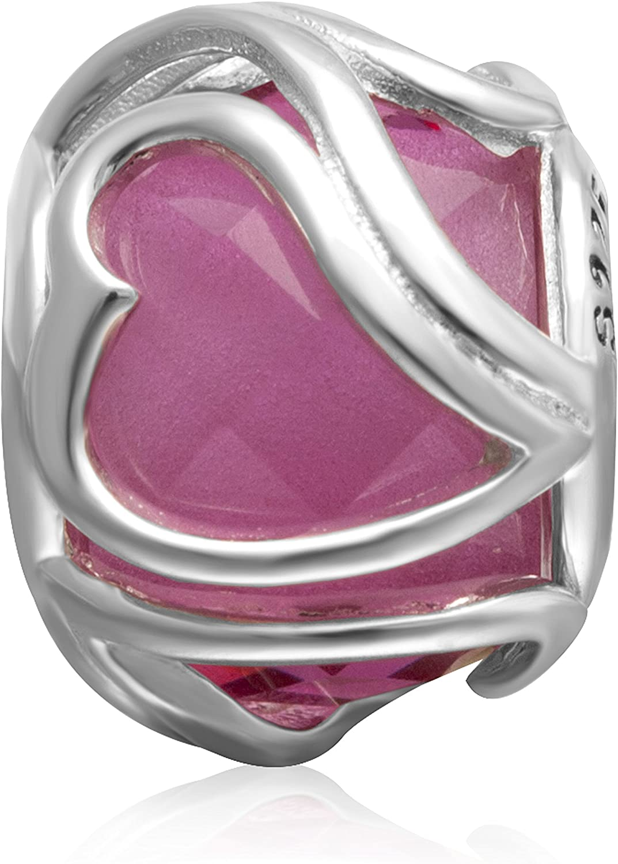 Hoobeads Heart Crystal Charms 925 Sterling Silver Murano Glass Bead for European Bracelet