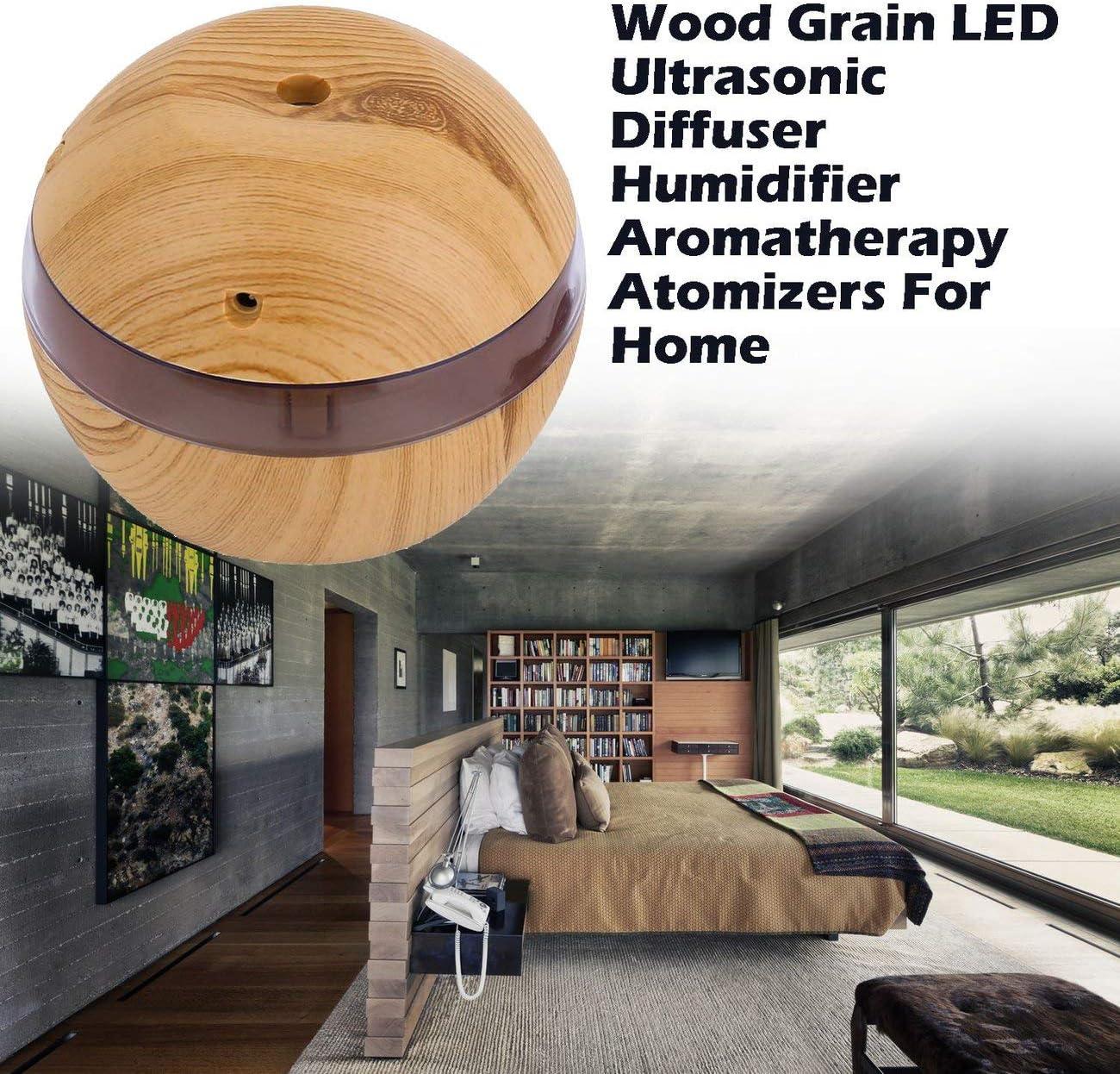 Peanutaor Humidificateur atomiseur daromath/érapie de diffuseur dhuile Essentielle dhuile darome dair ultrasonique de Grain du Bois LED dhumidification pour la Maison