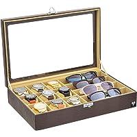 Porta 9 Relógios 4 Óculos Total Luxo Couro Ecológico Marrom Bege