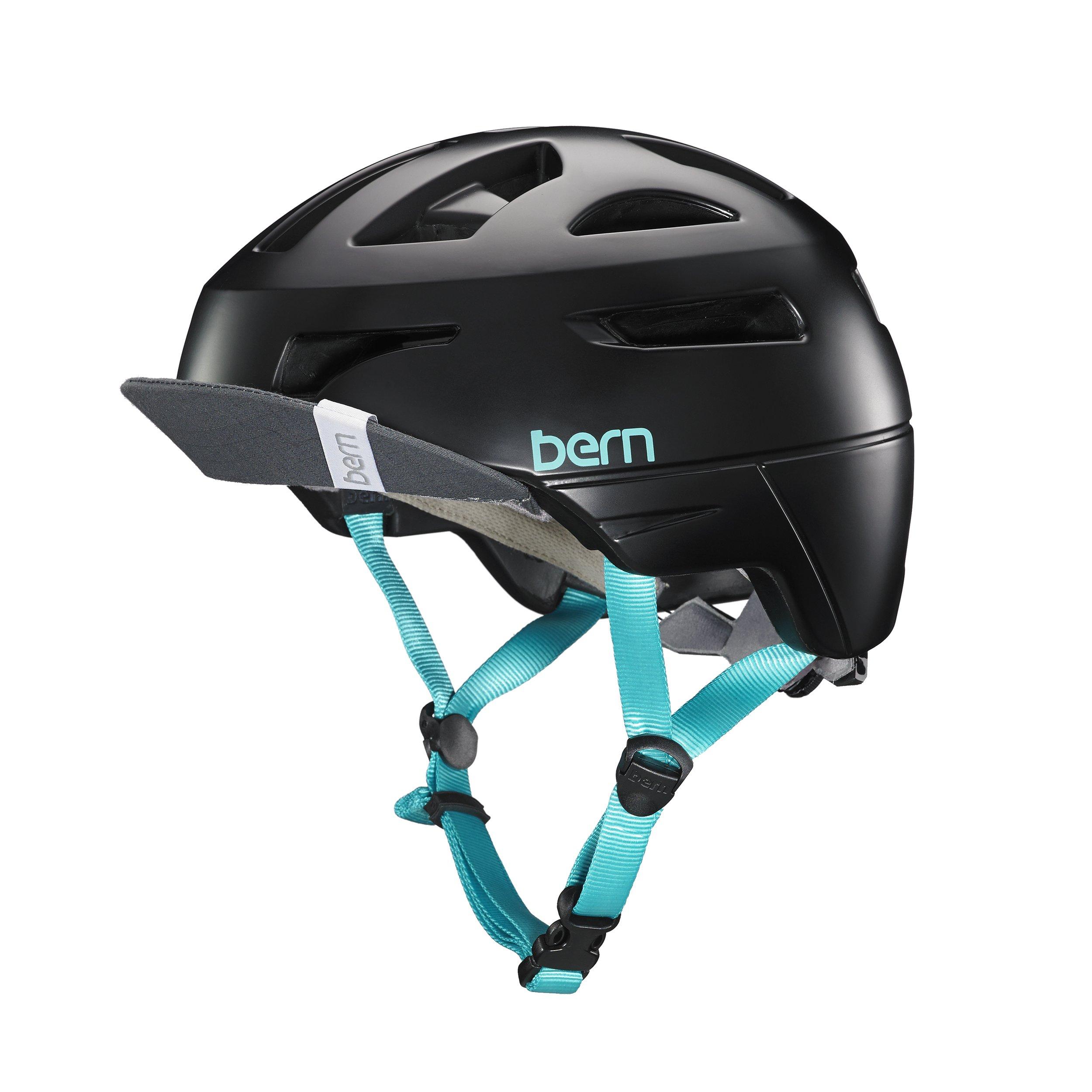 Bern Women's Parker MIPS Helmet w/ Flip Visor Satin Black L & Sweatband Bundle