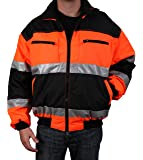 Safety Depot Reversible Jacket Class 2 ANSI Approved, Water Resistant, High Visibility Reflective Tape with Pockets (Extra Large)