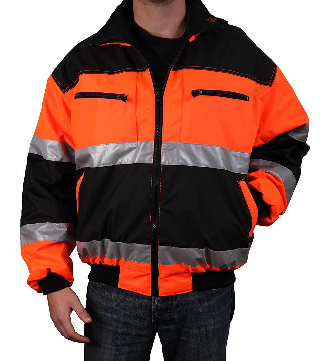 Safety Depot Reversible Jacket Class 2 ANSI Approved, Water Resistant, High Visibility Reflective Tape with Pockets (Extra Large) 2w
