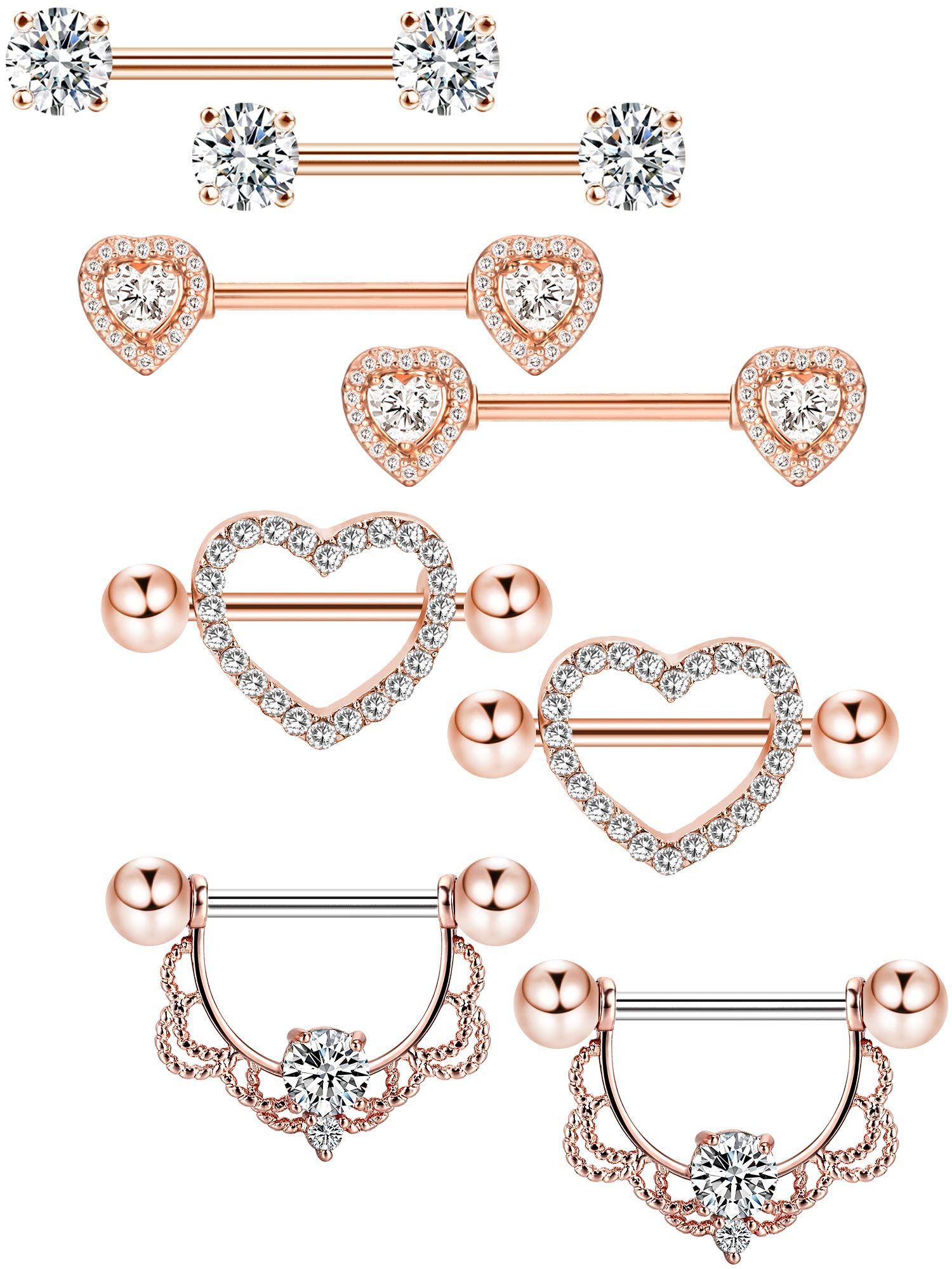 Tatuo 4 Pairs Stainless Steel Nipple Rings Tongue Ring Piercing Body Jewelry Barbell CZ Heart Shape Rings for Women Girls (Color 2) by Tatuo