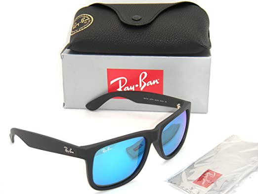 6fb4d56ac9c ... Sunglasses Authentic Ray-Ban Justin RB 4165 622 55 55mm Rubber Black  with Blue Mirror ...