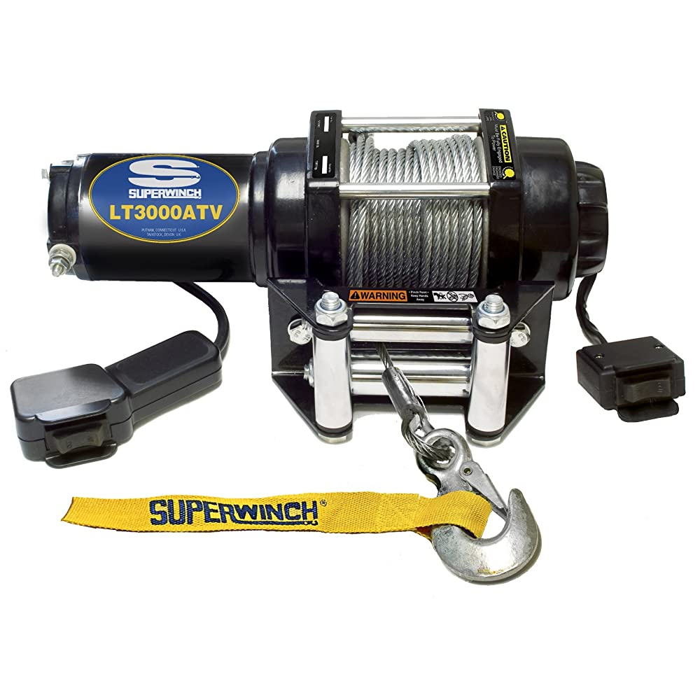 Superwinch 1130220 LT3000ATV 12 VDC winch 3,000lbs/1360kg with roller fairlead, mount plate, handlebar rocker switch, and handheld remote Review