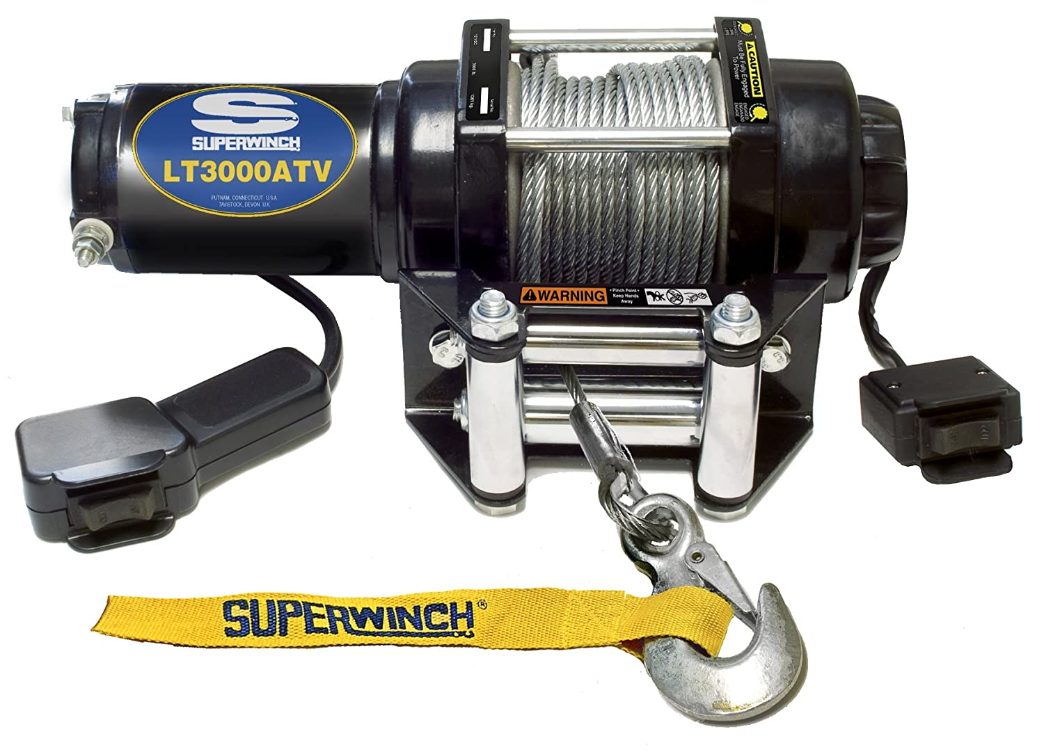 Superwinch 1135220 Terra 35 3500lbs 1591kg Single Line X3 Wiring Diagram 1130220 Lt3000atv 12 Vdc Winch 3000lbs 1360kg With Roller Fairlead Mount Plate Handlebar Rocker Switch And Handheld Remote