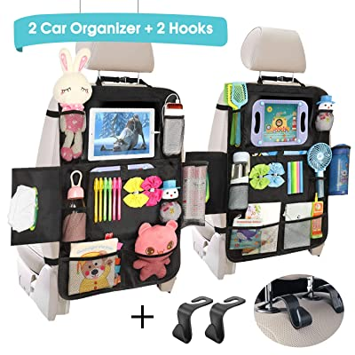 Car Back Seat Organizer - Universal Car Seat Back Protectors Kick Mats with 12 Storage Pockets Touchable Tablet Holder for Kids Baby vehicle organizer, 2 Pack Car Seat Organizers+ 2 Car Headrest Hook: Home Improvement