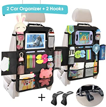 2 Pack Durable and High Quality 2 Pack Backseat Car Organizer Compatible with iPad and Android Tablets Stylish
