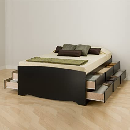 Amazon Com Prepac Bbq 6212 K Tall Queen Sonoma Platform Storage Bed