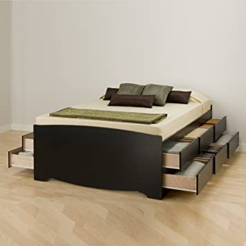 reputable site 766a6 e5308 Prepac BBQ-6212-K Tall Queen Sonoma Platform Storage Bed with 12 Drawers,  Black