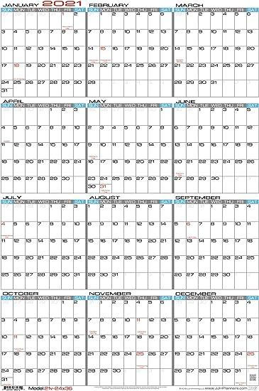 Yearly Wall Calendar 2021 Amazon.: JJH Planners   Laminated   24