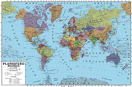 Cartina Geografica Mondo Poster.Carta Geografica Murale Planisfero Mondo 100x140 Scolastica Bifacciale Fisica E Politica Amazon It Cancelleria E Prodotti Per Ufficio