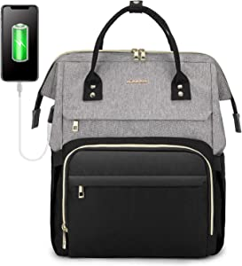 LOVEVOOK Laptop Backpack for Women Travel Business Computer Bag Purse Bookbag with USB Port Fits 15.6-Inch Laptop Grey Black