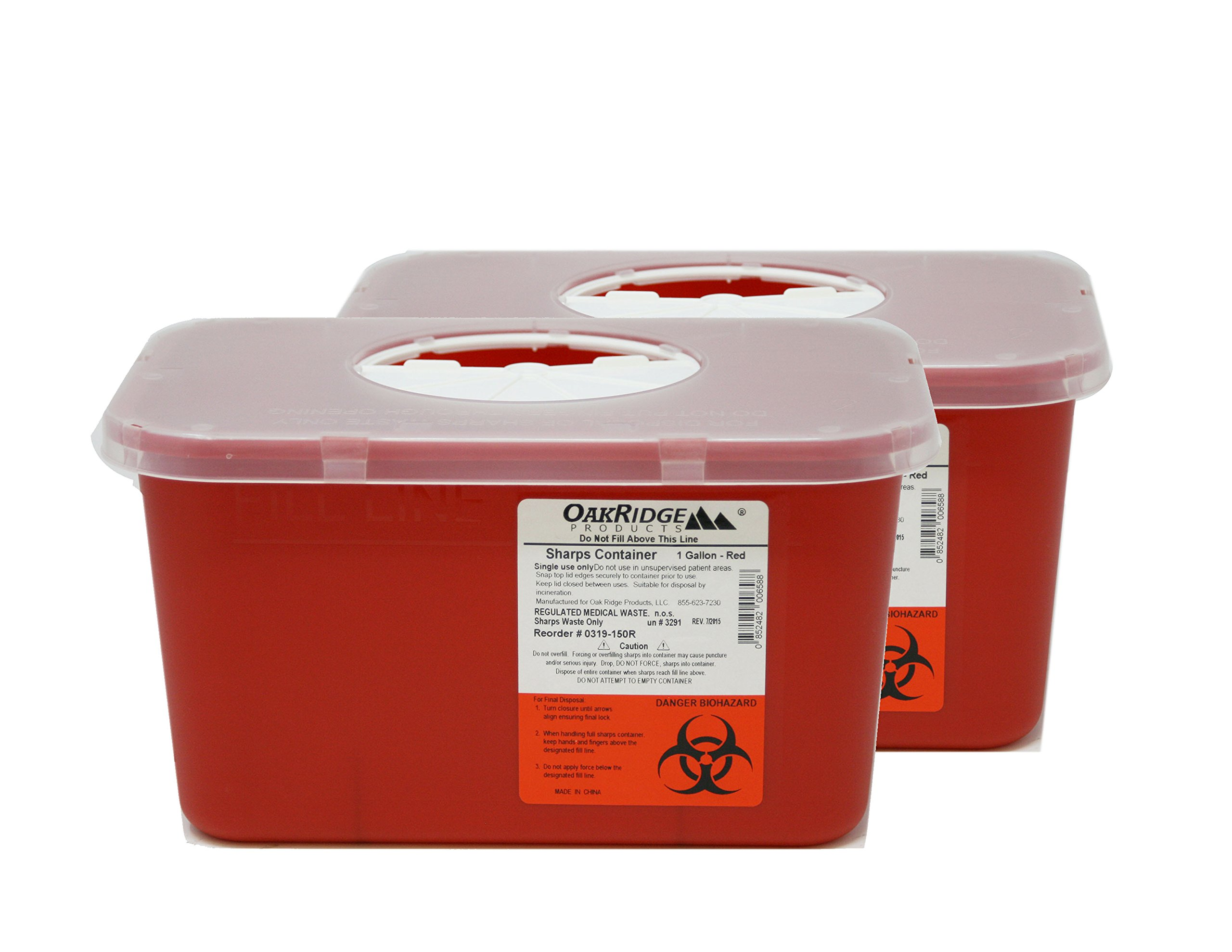 Oakridge Sharps Container - 1 Gallon (2 Pack) - Easy use Rotating lid Design by OakRidge Products