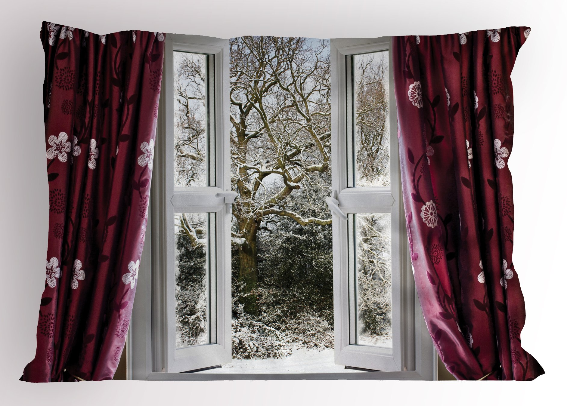 Ambesonne House Decor Pillow Sham, Open Window with View to a Snowy Winter Scene Pattern Curtain Drapes Frosty, Decorative Standard Queen Size Printed Pillowcase, 30 X 20 inches, Maroon White by Ambesonne (Image #1)