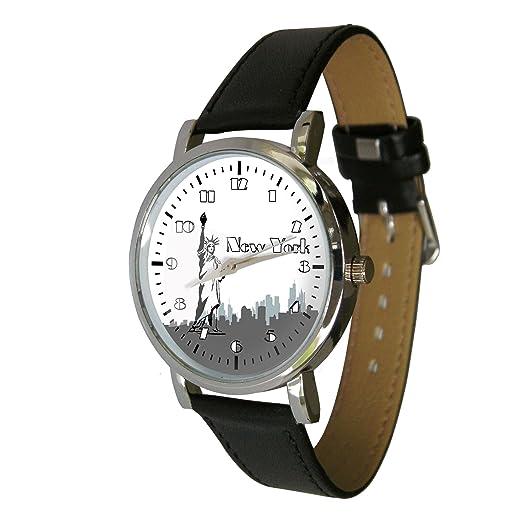 Nueva York Skyline minutero un gran reloj de pulsera que muestra una imagen icónica. Correa de cuero genuino: Amazon.es: Relojes