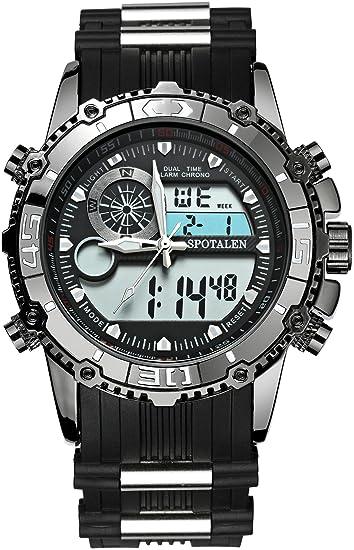 Reloj militar deportivo SPOTALEN para hombre, multifuncional, con esfera retroiluminada grande, reloj analógico y digital con correa de silicona negra: ...