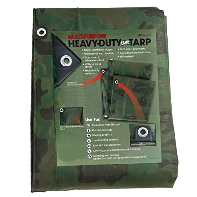 Park Ridge Products TRP0810CAMO Park Ridge 8 x ft. Heavy-Duty Reversible Poly 10 mil Tarp All Purpose, 8X10, Camo/Green