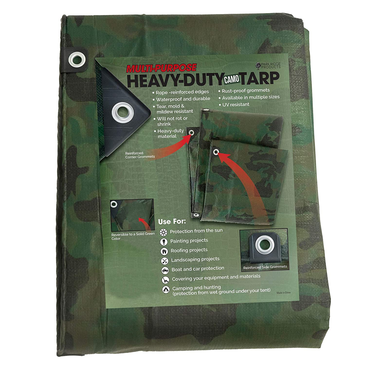 Park Ridge Products TRP0420CAMO Park Ridge 4 x 20 ft Heavy-Duty CAMO Reversible Poly 10 mil Tarp All All Purpose 4x20 Green
