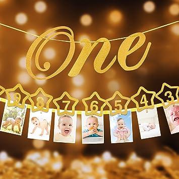 1st Birthday Milestone Monthly Photo Banner For Newborn To 12 Months1st