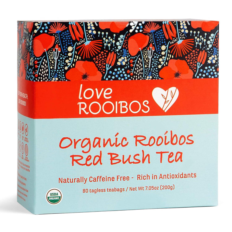 Rooibos Tea Organic 80 Tagless Teabags - Caffeine Free Teas, Antioxidant-Rich for Natural Wellness, Immunity, Sleep Aid and Pregnancy - Premium Red Tea