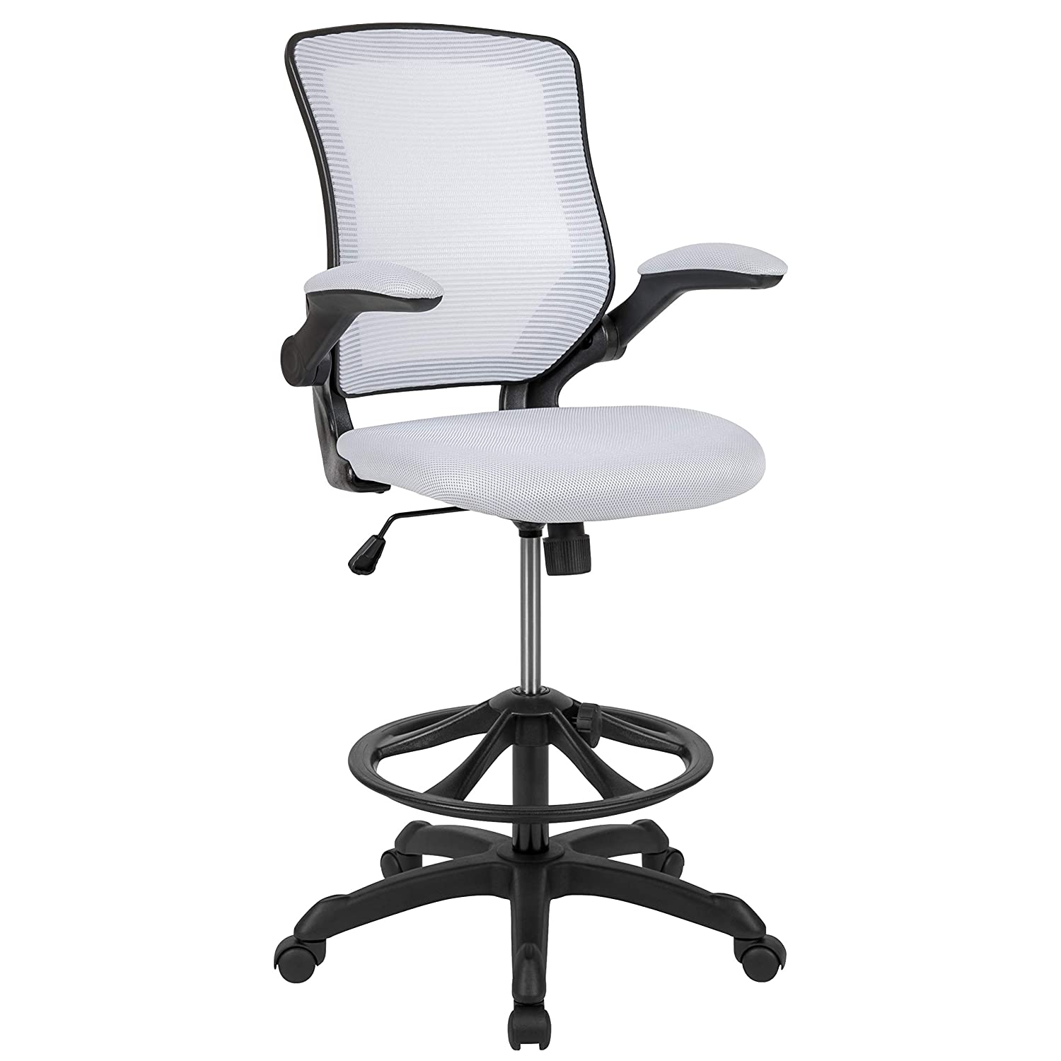 Flash Furniture Mid-Back White Mesh Ergonomic Drafting Chair with Adjustable Foot Ring and Flip-Up Arms -