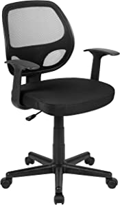 Flash Fundamentals Mid-Back Black Mesh Swivel Ergonomic Task Office Chair with Arms