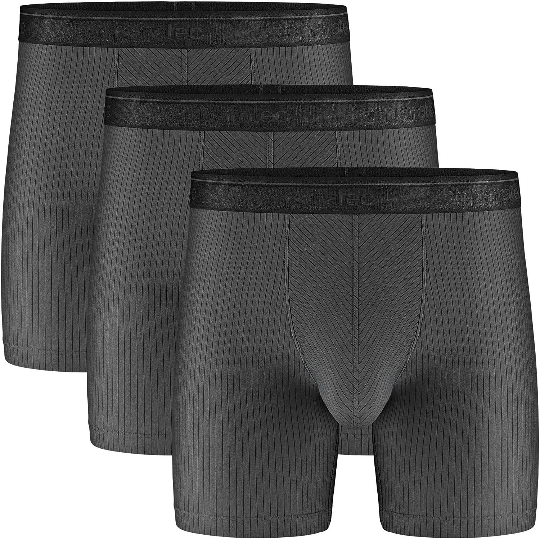Separatec Men's Underwear 3 Pack Lightweight Fast Dry Striped Dual Pouch Boxer Briefs