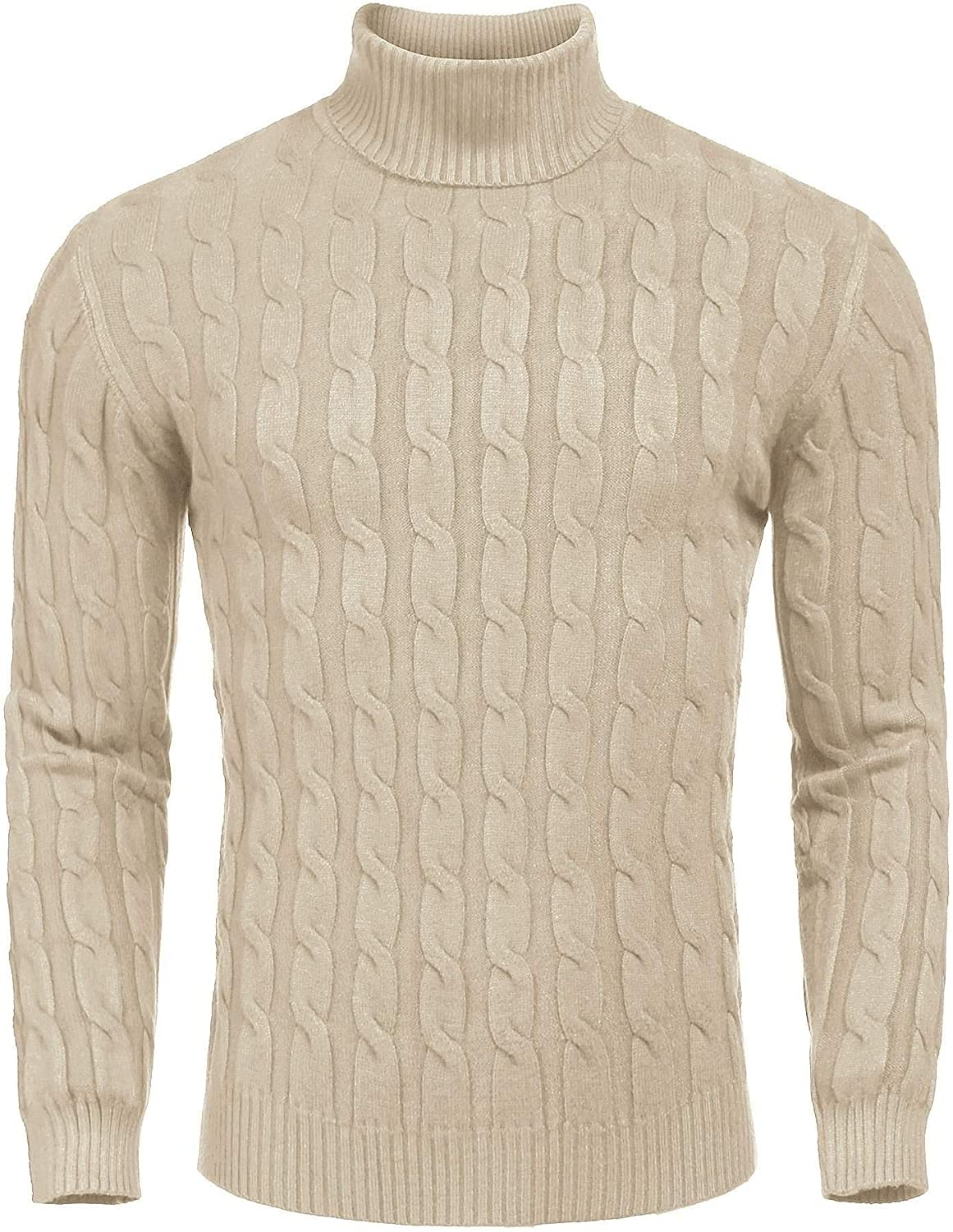 COOFANDY Mens Jumpers Turtleneck Slim Fit Twisted Knitted Pullover Jumpers