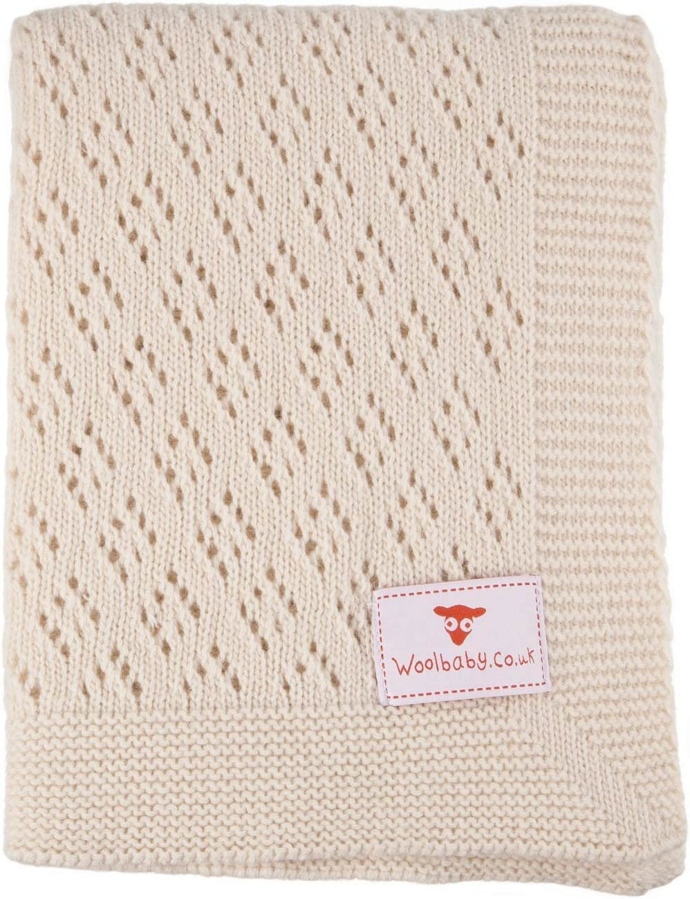 Natural Lacy Lambswool Baby Shawl Eco-Friendly /& The 100 x 75 cm Super Soft Wool Baby Blanket