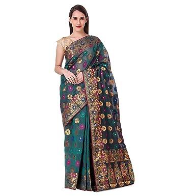 b29b2889eb Floral Zari Motif Purple Banarasi Saree With Blouse: Amazon.in: Clothing &  Accessories