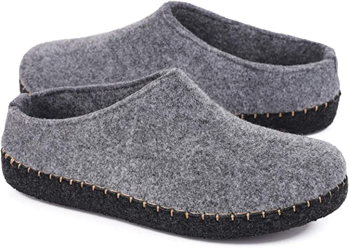 HomeTop Women's Comfy Faux Wool Felt House Slippers Closed Back Fleece Loafer Style Shoes with Anti Slip Rubber Sole