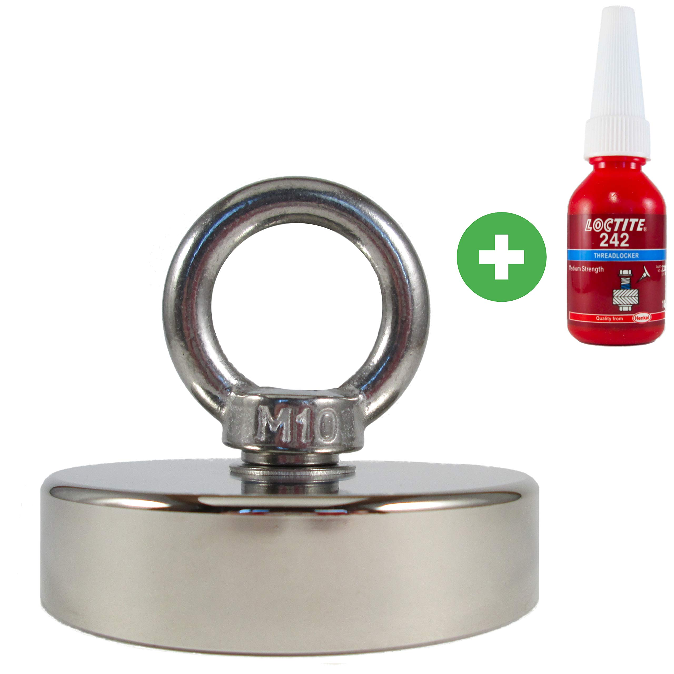 Fishing Magnet 580 LB Pull Force by Magic Magnets. Includes Loctite Threadlocker. Super Strong Rare-Earth Neodymium Magnet for Salvage, Recovery, Magnet Fishing, and More.