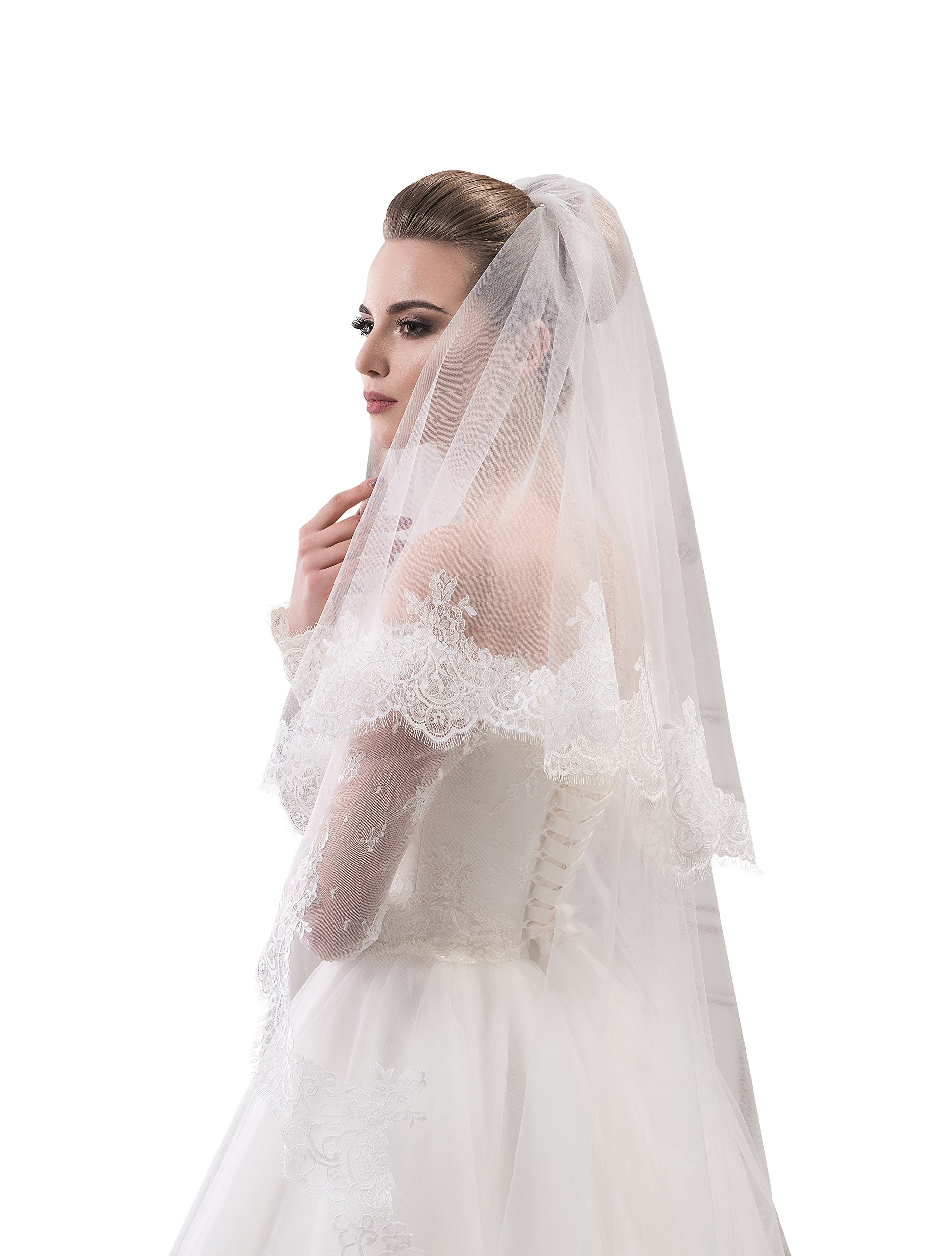 "Bridal Veil Jane from NYC Bride collection (short 30"", ivory) by NYC Bride"