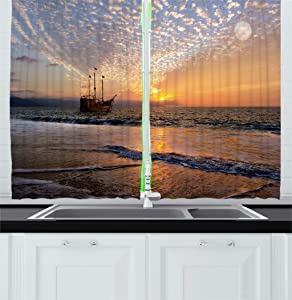 Ambesonne Nautical Kitchen Curtains, Pirate Ship Sailing in Waves Fantasy in The Sea Horizon Moon Sky Surreal Scenery, Window Drapes 2 Panel Set for Kitchen Cafe Decor, 55