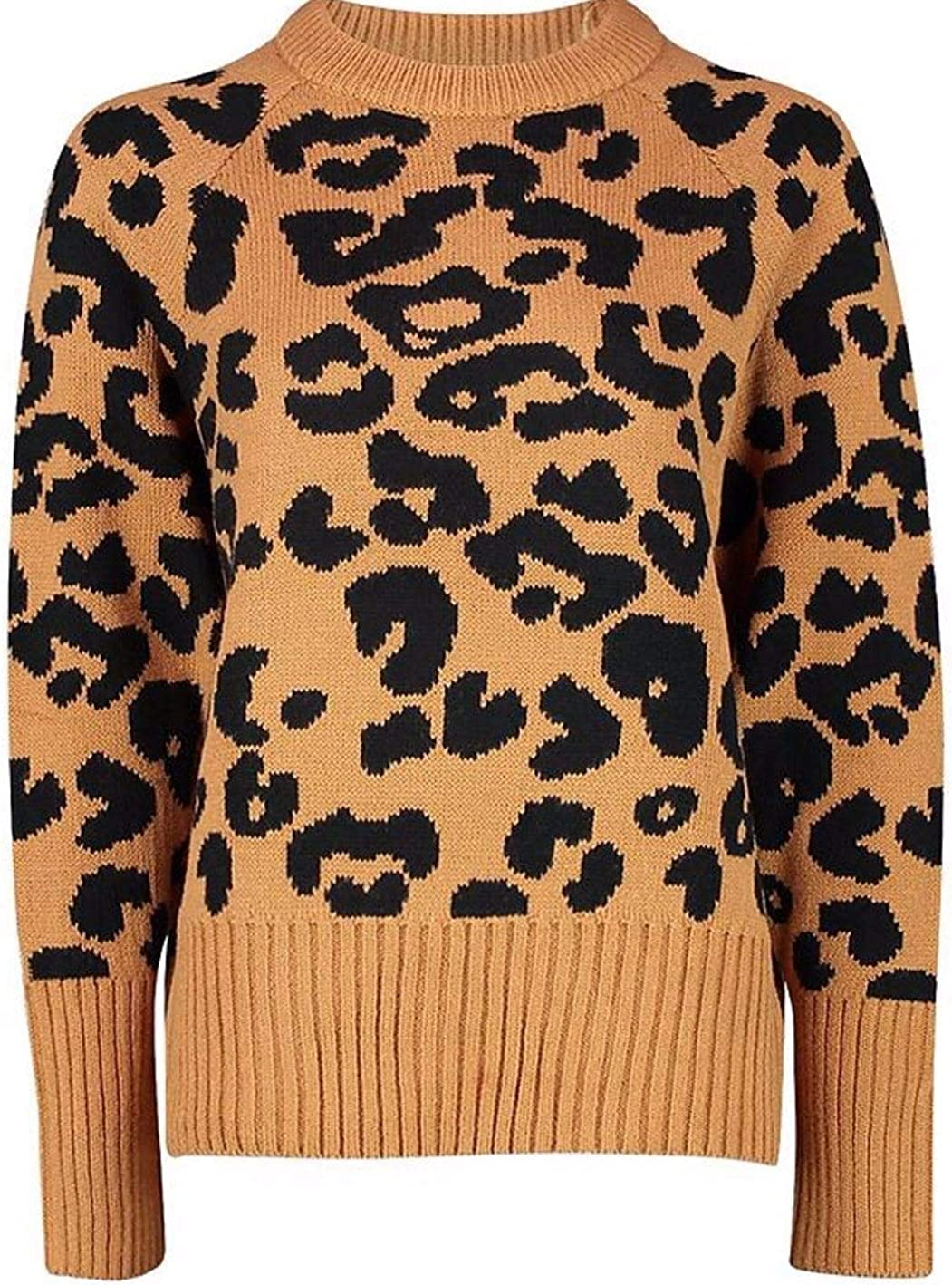 REAL LIFE FASHION LTD Ladies Long Sleeves Leopard Print Sweater Crew Neck Top Womens Knitted Jumper