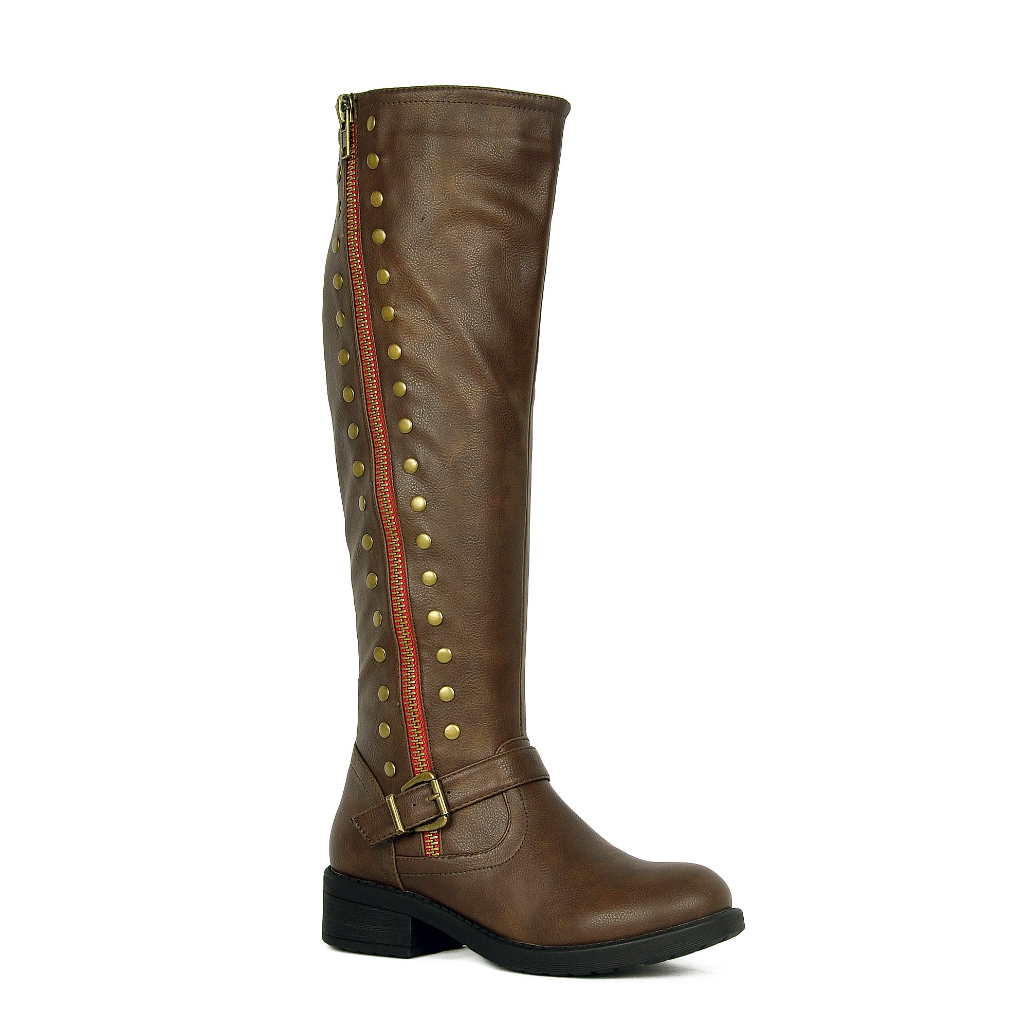 WestCoast Women's Knee High Riding Boot Faux Leather Side Zipper Low Heel Boots Brown 8